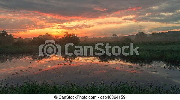 Foggy morning landscape - csp40364159