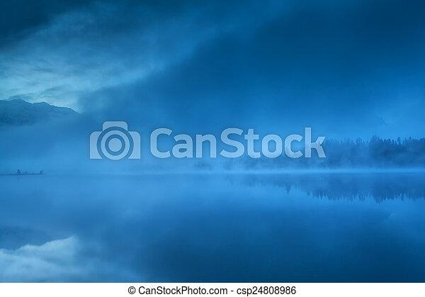 foggy morning on Barmsee lake - csp24808986