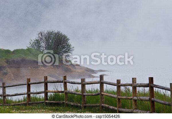 Foggy Morning on the Summer Lake - csp15054426