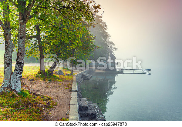 Foggy summer morning on the Bohinj lake - csp25947878