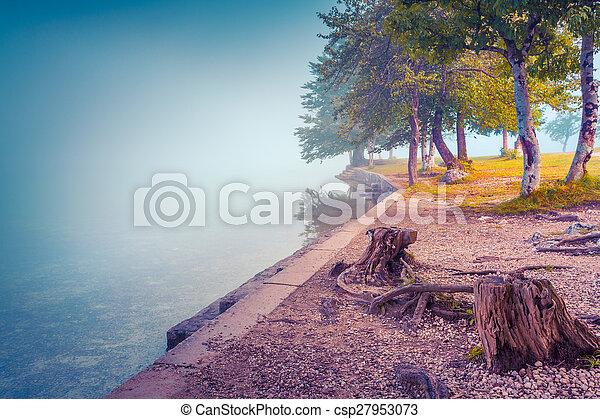 Foggy summer morning on the Bohinj lake - csp27953073