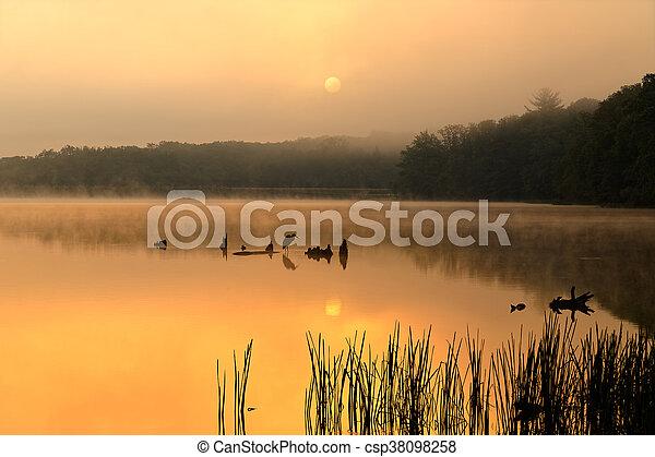 Foggy Sunrise at the Lake - csp38098258