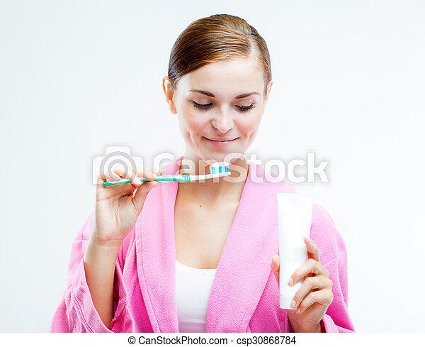 fogkefe, cső, nő, krém, fog - csp30868784