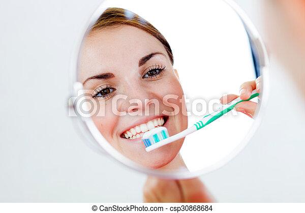fogkefe, fogászati, nő, törődik - csp30868684