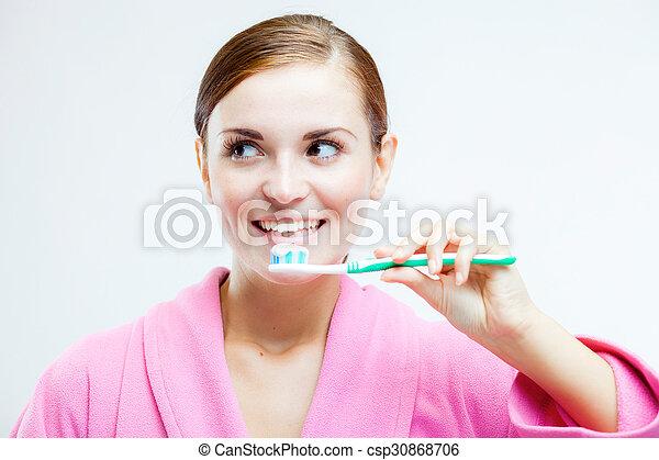fogkefe, fogászati, nő, törődik - csp30868706