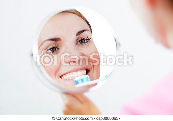 fogkefe, fogászati, nő, törődik - csp30868657