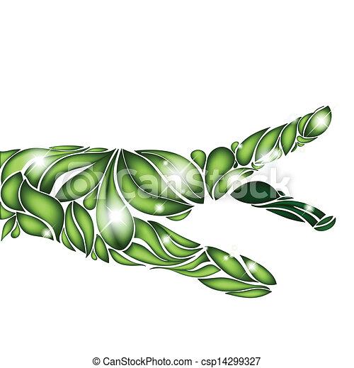 foglia, fuoco, mano, sfondo verde, bianco - csp14299327