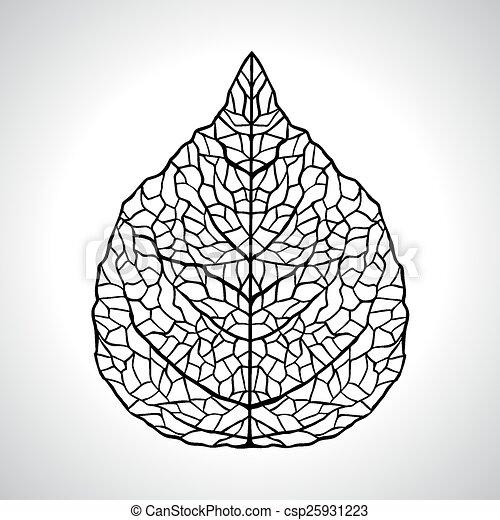 foglia, isolated., macro, illustrazione, vettore, nero, naturale - csp25931223