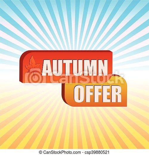 foglia, offerta, sopra, v, autunno, cadere, raggi - csp39880521