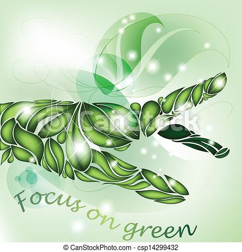 foglia, verde, fuoco, mano - csp14299432