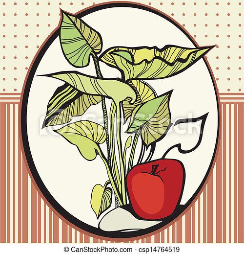 foglie, cornice, mele - csp14764519