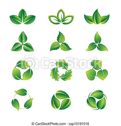 foglie, set, verde, icona - csp10191016