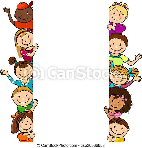 foglio bianco, bambini, lungo - csp20566853