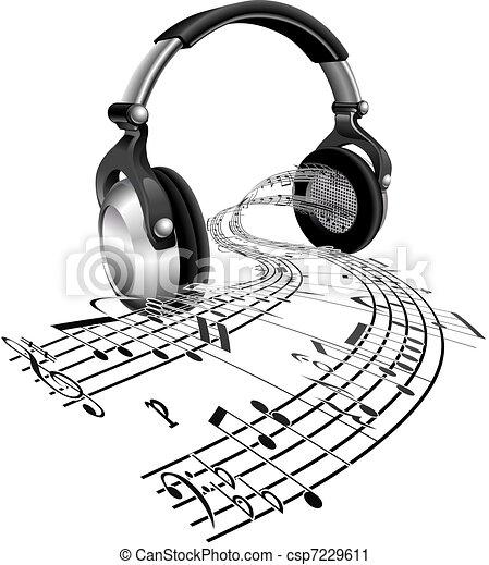foglio, note, concetto, musica, cuffie - csp7229611