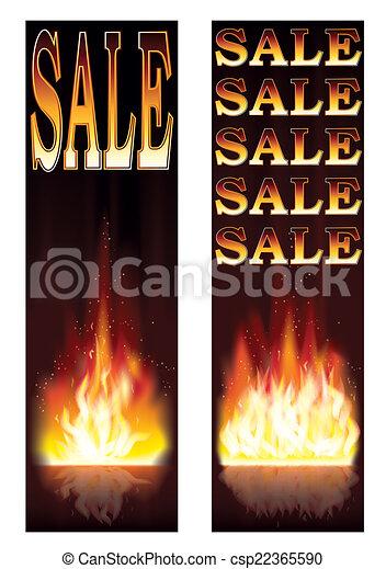 fogo, bandeiras, vendas, vetorial - csp22365590