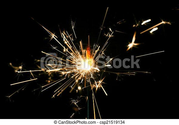 fogo, bengal, experiência., pretas, sparkler, natal - csp21519134