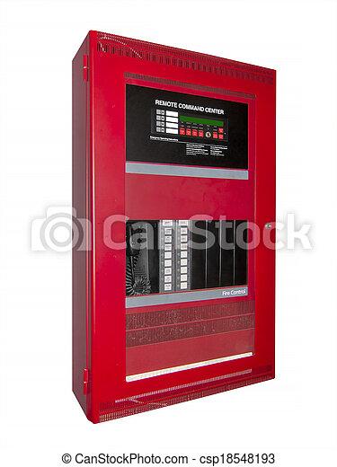 fogo, controle, alarme, isolado, caixa - csp18548193