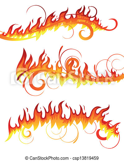 fogo, vetorial, elementos - csp13819459