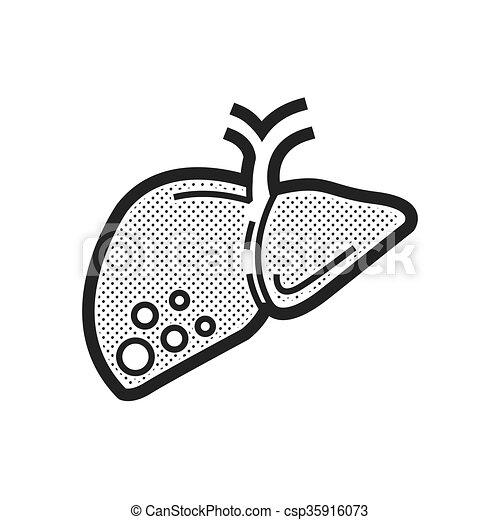 foie, cancer, icône - csp35916073