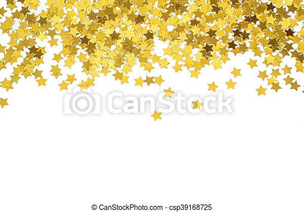 Foiled gold stars. Frame with stars. Scattered stars border. Nat - csp39168725