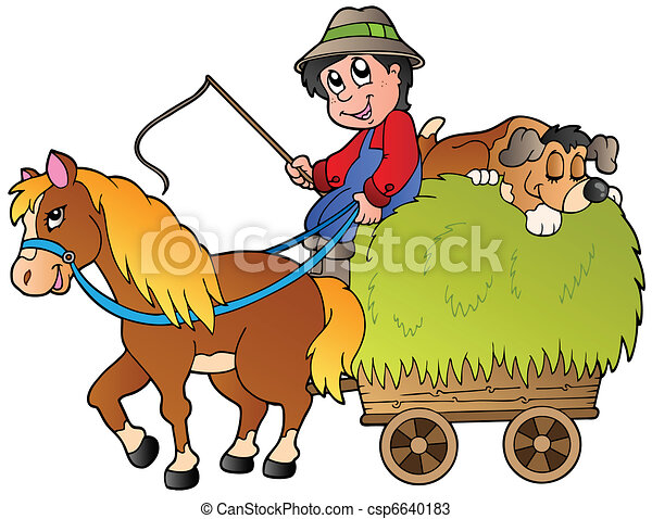 foin, dessin animé, charrette, paysan - csp6640183