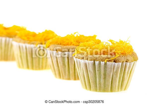 Foithong Cake, Golden thread cake isolate on white. - csp30205876