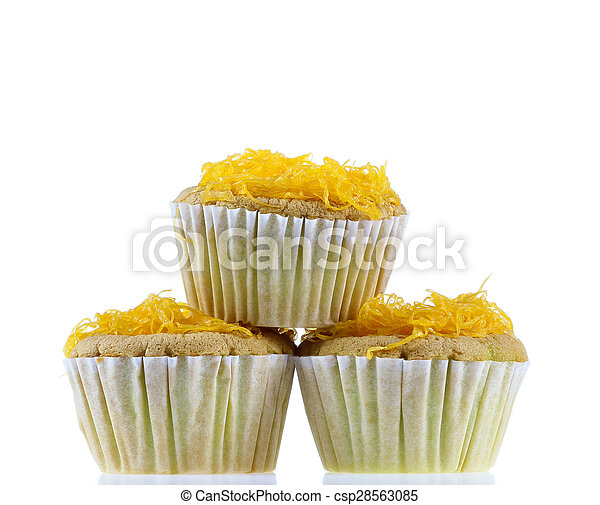 Foithong Cake, Golden thread cake isolate on white. - csp28563085