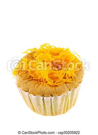 Foithong Cake, Golden thread cake isolate on white. - csp30205922