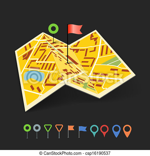 Folded abstract city map with collection of color point pins - csp16190537