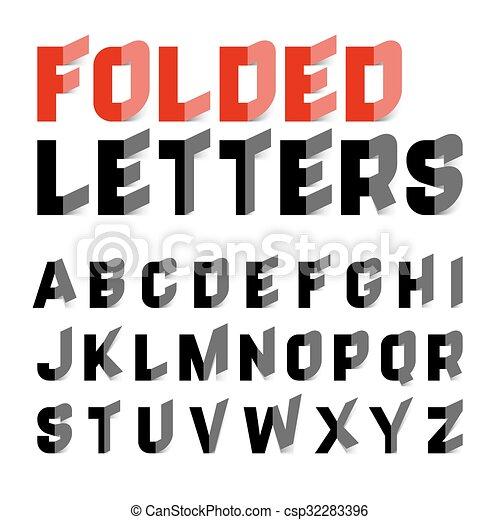 Folded alphabet letters  - csp32283396