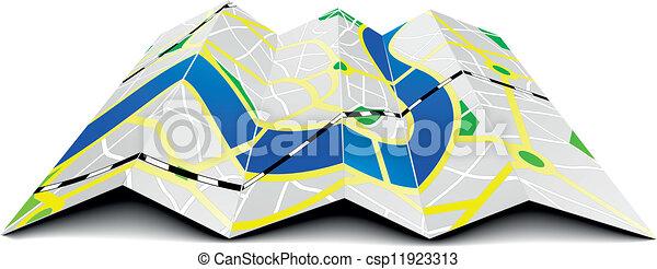 folded city map - csp11923313