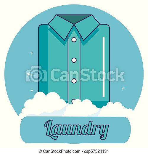 folded clothes laundry service - csp57524131