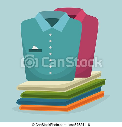 folded clothes laundry service - csp57524116