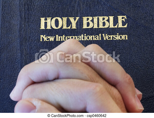 folded hands on bible - csp0460642