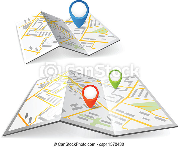 Folded maps with color point markers - csp11578430