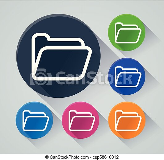 folder circle icons with shadow - csp58610012