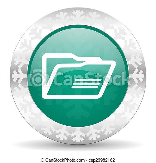 folder green icon, christmas button - csp23982162