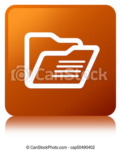 Folder icon brown square button - csp50490402