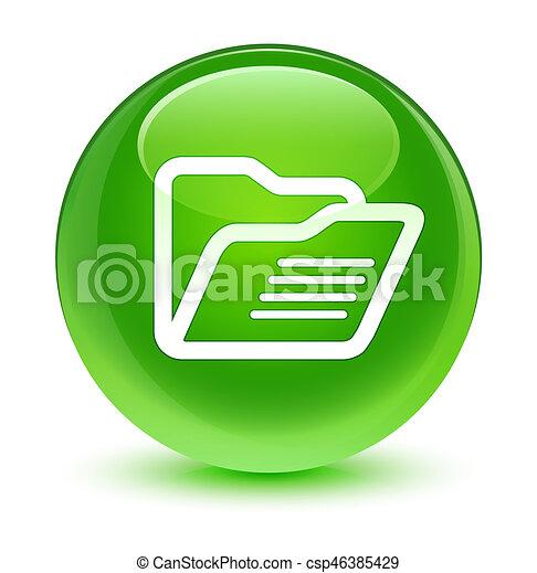 Folder icon glassy green round button - csp46385429