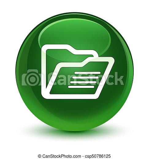 Folder icon glassy soft green round button - csp50786125