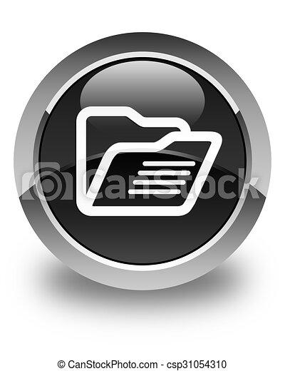 Folder icon glossy black round button - csp31054310