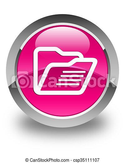 Folder icon glossy pink round button - csp35111107
