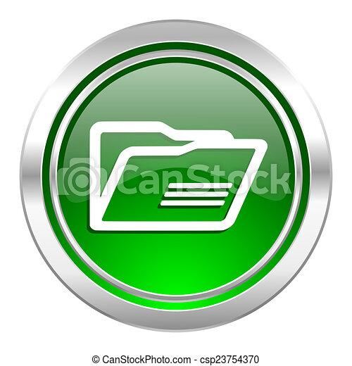 folder icon, green button - csp23754370