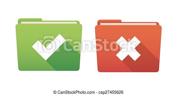 Folder icon set with survey signs - csp27455626
