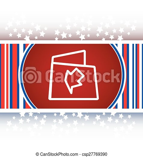 Folder icon web button with map isolated on white - csp27769390