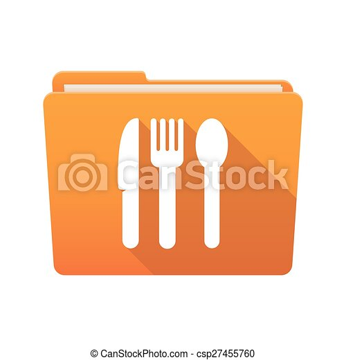 Folder icon with cutlery - csp27455760