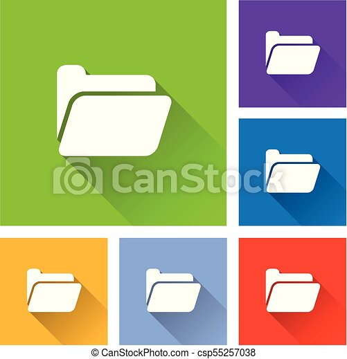 folder icons with long shadow - csp55257038