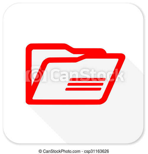 folder red flat icon with long shadow on white background - csp31163626