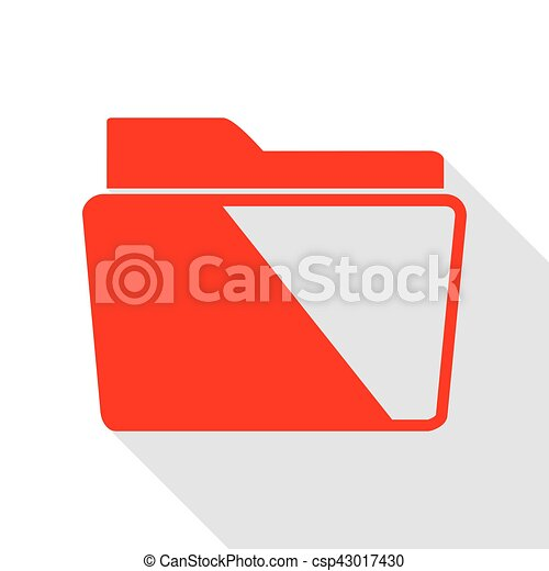 Folder sign illustration. Red icon with flat style shadow path. - csp43017430
