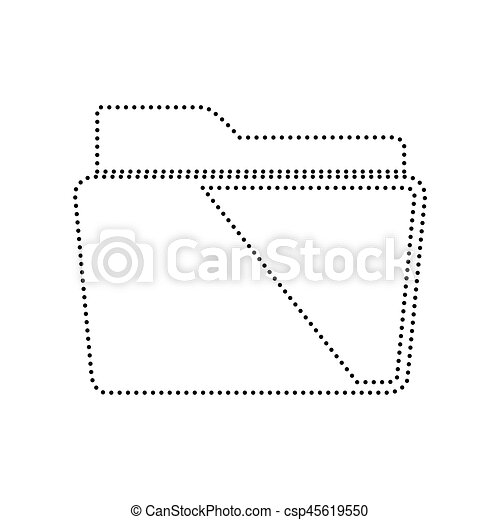 Folder sign illustration. Vector. Black dotted icon on white background. Isolated. - csp45619550